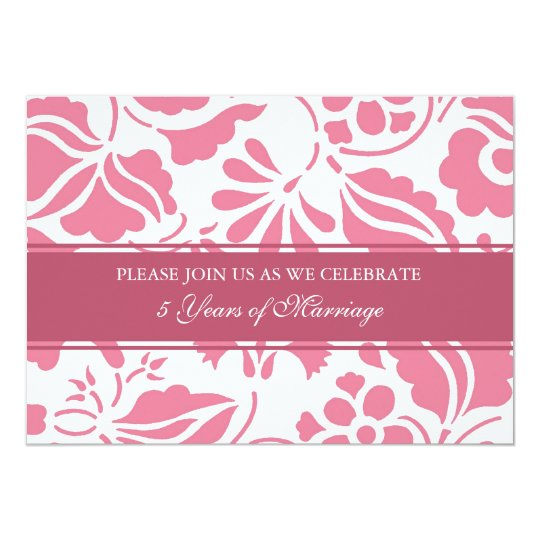 Pink Floral 5th Anniversary Party Invitation