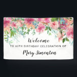 "Pink Floral 90th Birthday Party Welcome Banner<br><div class=""desc"">Beautiful flowers create a stunning 90th birthday party welcome banner. A gorgeous combination of bright pink peonies with lots of greenery with assorted vines and leaves make it a very modern floral design. It has a bit of a Boho Chic vibe, because of the dangling vines and leaves. This bridal...</div>"