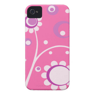 Pink Floral Abstract BlackBerry Barely There Case iPhone 4 Cases