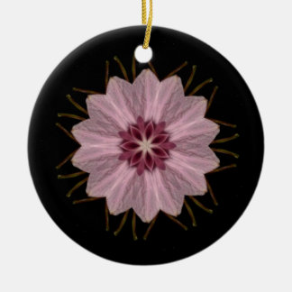Pink Floral Abstract Ceramic Ornament