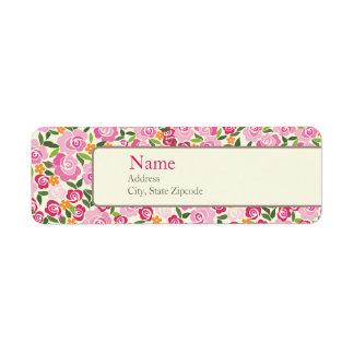 Pink Floral Address Label