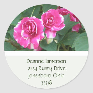 PInk Floral Address Stickers