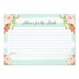 Pink Floral Advice For the Bride Card