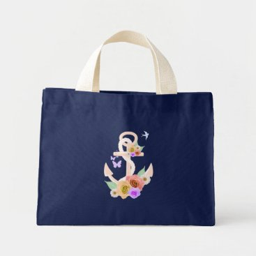 Beach Themed Pink Floral Anchor Mini Tote Bag