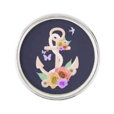 Beach Themed Pink Floral Anchor Pin