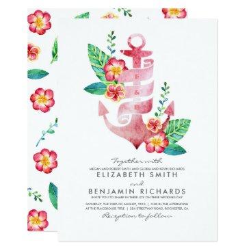 Beach Themed Pink Floral Anchor Vintage Nautical Beach Wedding Card