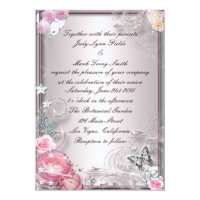 Pink Floral And Butterfly Invitation
