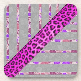 Pink Floral and Cheetah Print Stripes Coaster