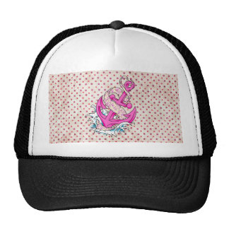 Pink Floral and Polka Dot Anchor Trucker Hat
