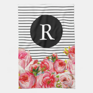 Pink Floral and stripes Monogram Towel