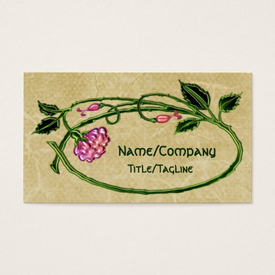 Pink Floral Art Noveau Business Card