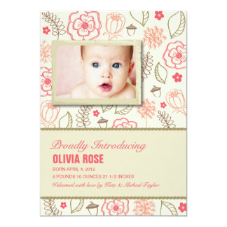 Pink Floral Baby Announcement