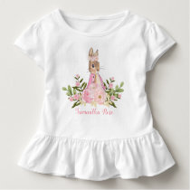 Pink Floral Baby Bunny Birthday Toddler T-Shirt