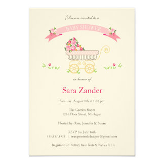 Pink Floral Baby Carriage Baby Shower Invitation