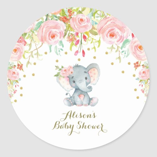 Pink Floral Baby Elephant Thank You Sticker Favors