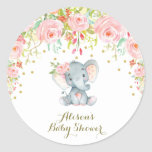 "Pink Floral Baby Elephant Thank You Sticker Favors<br><div class=""desc"">Gorgeous elephant theme thank you sticker tag featuring an adorable baby elephant,  pink watercolor flowers and faux gold confetti
