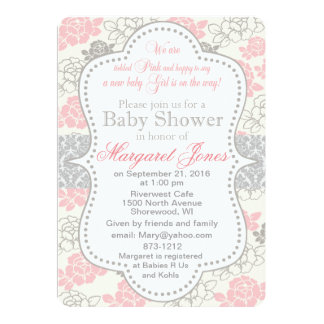 Pink Floral Baby Girl Shower Invitation customize