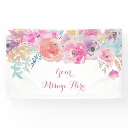 Pink Floral Baby Shower Banner