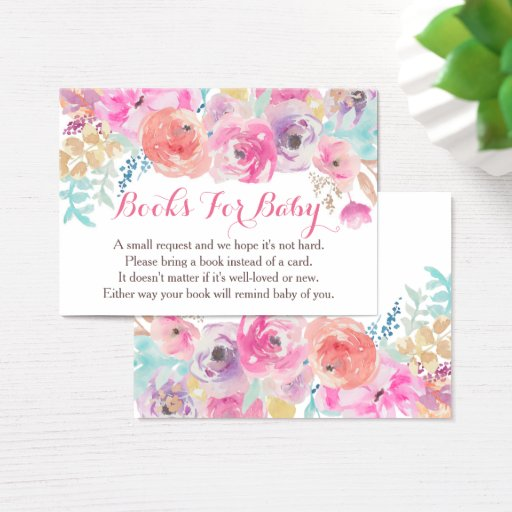 Pink Floral Baby Shower Book Request Cards
