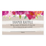 Pink Floral Baby Shower Diaper Raffle Tickets Business Card