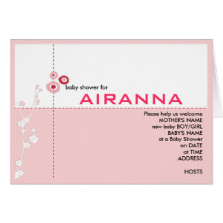 Pink Floral Baby Shower Invitation Greeting Card