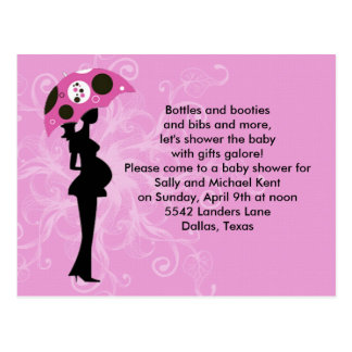 Pink Floral Baby Shower Invitation Postcards