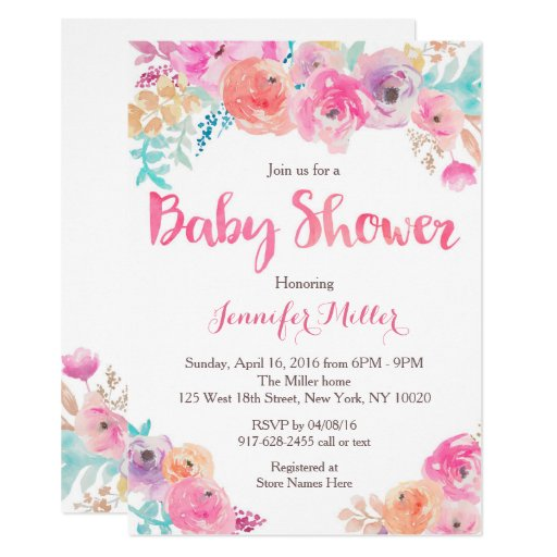 Pink Floral Baby Shower Invitations