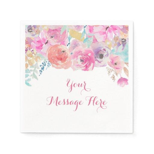 Pink Floral Baby Shower Paper Napkin