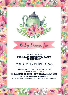 Tea party baby shower invitations zazzle pink floral baby shower tea party invitation filmwisefo