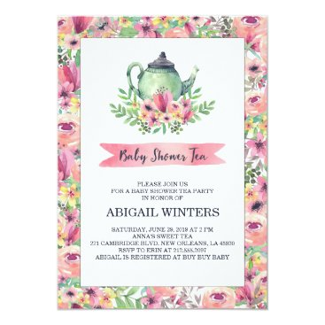 Toddler & Baby themed Pink Floral Baby Shower Tea Party Invitation