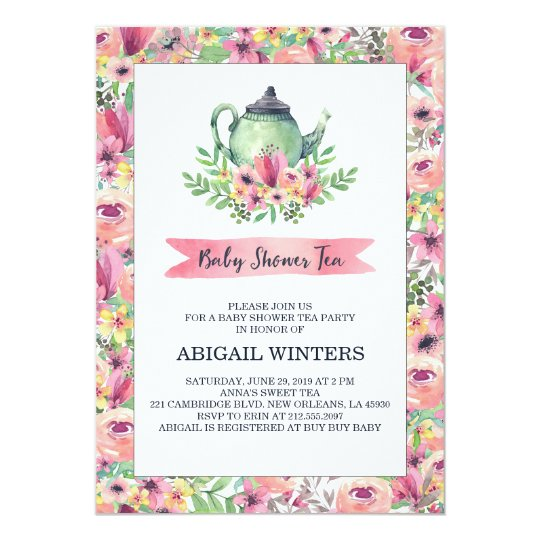 Pink floral baby shower tea party invitation zazzle pink floral baby shower tea party invitation filmwisefo