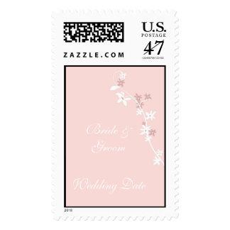 Pink Floral Background Wedding Postage Stamp