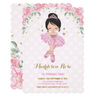 Pink Floral Ballerina Ballet Tutu Birthday Invite