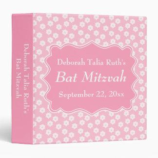 Pink Floral Bat Mitzvah 3 Ring Binders