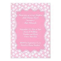 Pink Floral Bat Mitzvah Card