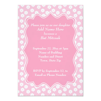 Pink Floral Bat Mitzvah Custom Invite