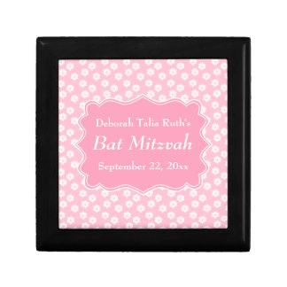 Pink Floral Bat Mitzvah Jewelry Boxes