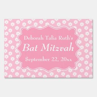 Pink Floral Bat Mitzvah Sign