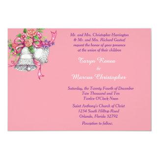 "Pink Floral Bell Horizontal 5x7 Wedding Invitation 5"" X 7"" Invitation Card"