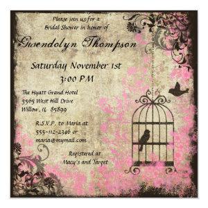 Pink Floral Birdcage Bridal Shower Invitation 5.25