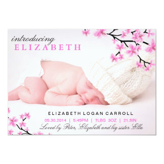 Pink Floral Birth Announcement