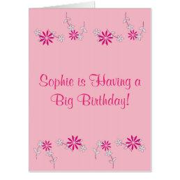 Pink Floral Birthday 4Sophie Card