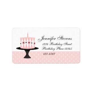 Pink Floral Birthday Cake Label