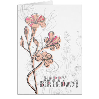 Pink Floral Birthday Greeting Card