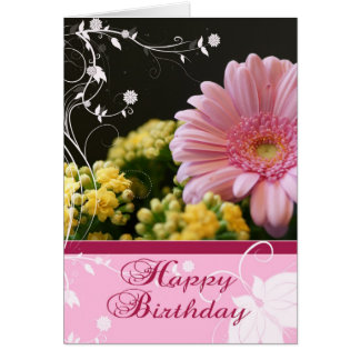 Pink Floral Birthday Card - Happy Birthday Greetin