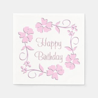 Pink Floral Birthday Standard Cocktail Napkin