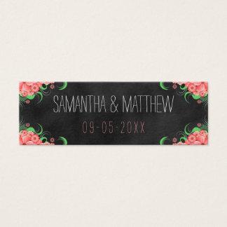 Pink Floral Black Chalkboard Wedding Favor Tags