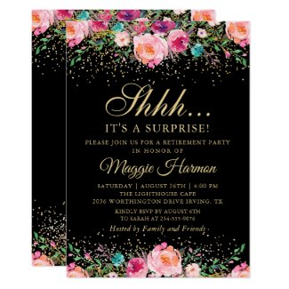 Pink Floral Black Gold Surprise Retirement Party Invitation