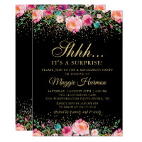 Pink Floral Black Gold Surprise Retirement Party Invitation