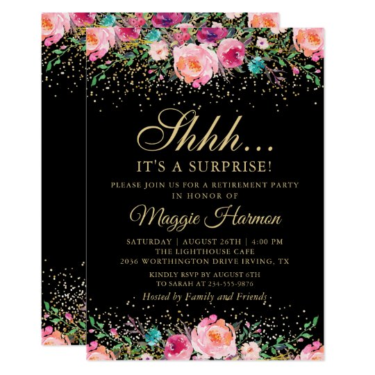 Pink Fl Black Gold Surprise Retirement Party Invitation